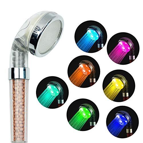 AMZTM Tamaño Universal Cabeza De Ducha Del Arco Iris Iones Negativos 7 Cambio De Colores Luz LED Filtro De Cloro Boquilla de bañera