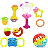 #7: EIO® 100% Non Toxic Baby Toys Rattle Set for Infants and Toddlers - Set of 10Multi Color 2029(Rattles 3)