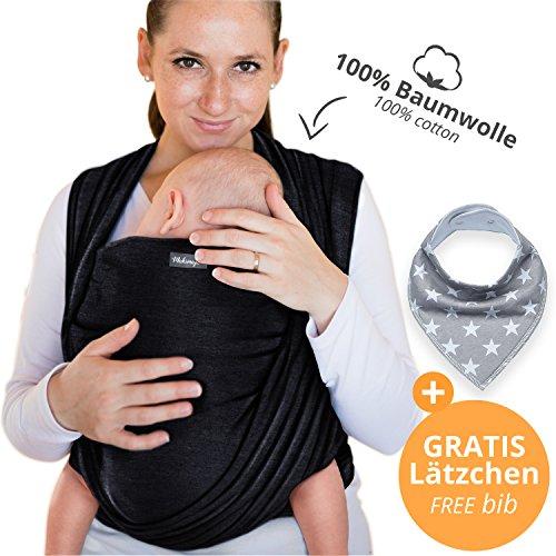 Portabebés hecho de algodón 100 % - negro - portabebés de alta calidad para recién nacidos y bebés hasta 15 kg - incluye bolsa para guardar y babero GRATIS - precioso diseño de Makimaja®