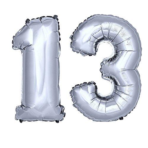 DekoRex® Folienballon Zahlenballon Luftballon Geburtstag Deko 80cm Zahl Silber 13 Silber 13