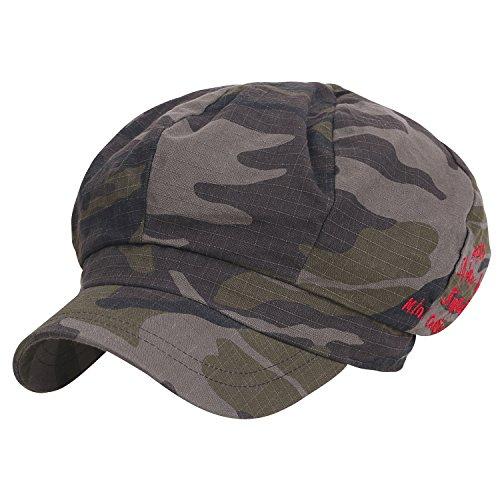 Ililily 8-Panel Camouflage Cotton Newsboy Cabbie Cap Duck Bill Flat Hunting Hat