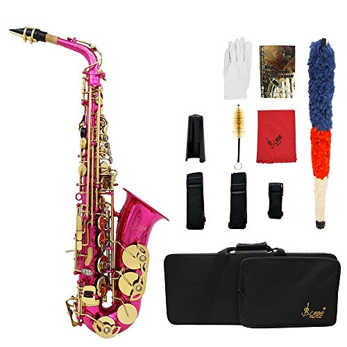 Ammoon - Saxofón grabado, afinado en EB E-Flat, con botones, instrumento de viento, con guantes, gamuza, grasa, cinturón, cepillo, Rose