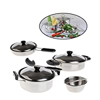 ALIKEEY Educational Toys for Kids, 20Pcs Stainless Steel Pots Pans Cookware Miniature Toy Pretend Play Gift For Kid