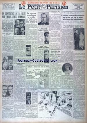 PETIT PARISIEN DERNIERE EDITION DE PARIS (LE) [No 19176] du 30/08/1929