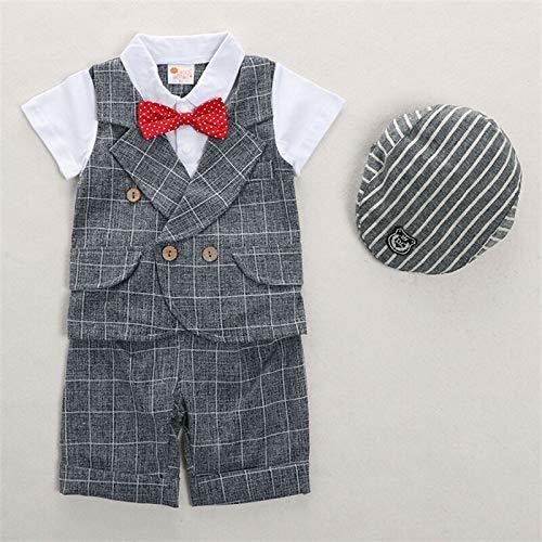 rumiao Jungen Sommer Anzug Baby Kleidung 1-2 Jahre Alt Sommer Dünne Kurze Ärmel Zweiteilige Baby Alter Kleid Gentleman Anzug Set,Grayplaid-43.31in (Baby-ring-bearer-outfit)