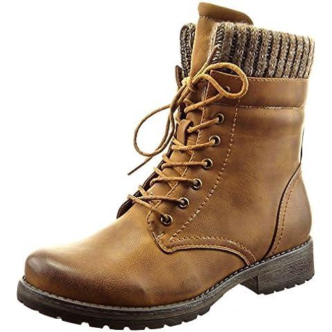 Sopily - Zapatillas de Moda Botines botas militares A medio muslo mujer Talón Tacón ancho 3 CM - plantilla Forrada de Piel - Camel