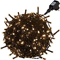 VOLTRONIC LED Lichterkette für innen und außen, Größenwahl: 50 100 200 400 600 LEDs, erhältlich in: warmweiß/kaltweiß / bunt, GS geprüft, IP44, optional mit 8 Leuchtmodi/Fernbedienung / Timer