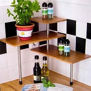 k chenregal eckregal bambus 3 ablagen k chengestell k chenregal k che haushalt. Black Bedroom Furniture Sets. Home Design Ideas