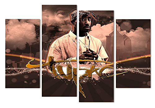HNBDH 4 Tafeln Leinwand Gemälde Tupac Leinwand Gemälde Hauptdekoration Wand Kunstdruck Poster Rahmenlose 100X160 cm Leinwanddrucke