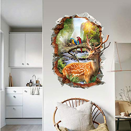 Sika Deer Wall Stickers Natural Landscape Home Decorative Stickers Fake Window Landscape Wallpapers Animals Home Decor 3D (Fake-maden Für Halloween)