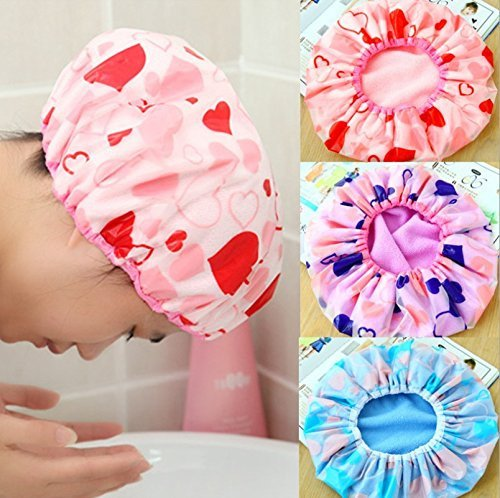 Fok Set Of 3Pc Reusable Printed Shower Cap With Elastic Band For Unisex - Random Color