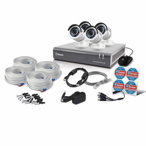 Swann SWDVK-845504-UK 8-Channel Security System and 4 Cameras with 30 m 2 TB 1080p Night Vision CCTV Kit – White
