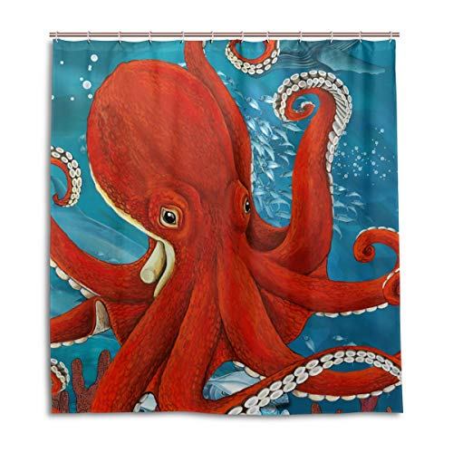 CPYang Duschvorhang, Meerestier, Wasserdicht, schimmelresistent, 168 x 182 cm, mit 12 Haken (Kunststoff-octopus Schimmel)