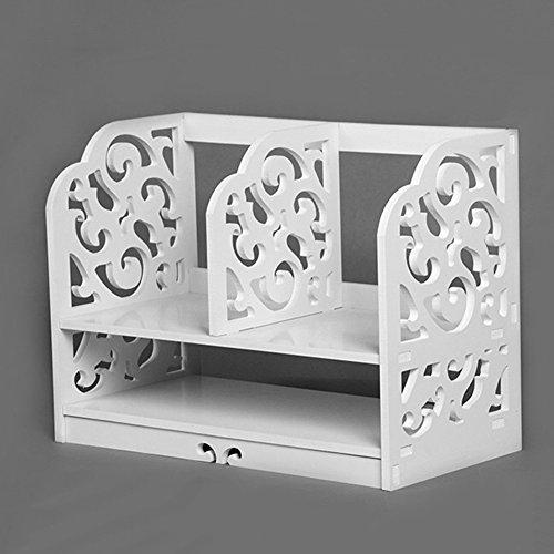 QIANGDA Weißes Bücherregal 2 Stufen Bücherschrank Holzplatte Aus Kunststoff Kleiner Quadratischer...
