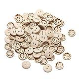 """Demiawaking, 100 bottoni in legno con scritta in lingua inglese """"Handmade with love"""", per decorazione di album e cucito, 1,5 cm"""