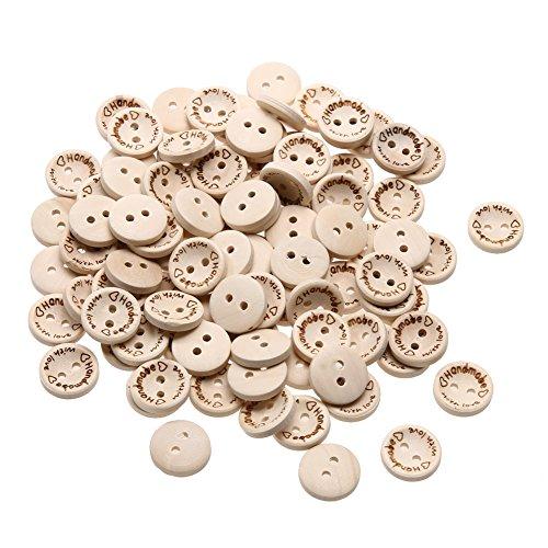 Newsbenessere.com 51SGoZ3vcGL Demiawaking Fashion 100pcs in legno fatto a mano con amore Pulsanti Scrapbooking Bottoni