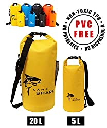 REVALCAMP Dry Bag 20L Gelb - Nicht Krebserregendes PVC* - wasserdichte Tasche aus TPU - Kein übler Geruch, Bessere Elastizität and Längere Lebensdauer - Für den modernen Abenteurer entworfen