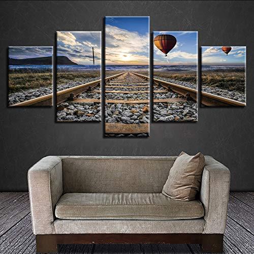 ljtao Leinwand Gerahmte Wandkunst Hd Poster Home Decoration 5 Panel Turm Heißluftballon Wohnzimmer Modular Gedruckt Bilder Malerei-40Cmx60/80/100Cm-Frame