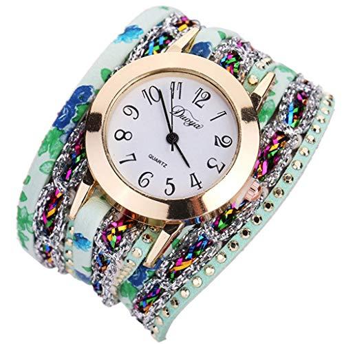 euwanyu Womens Fashion Bracelet Watch Ladies Popular Quartz Bracelet Flower Gemstone Wrist Watch (Green) -