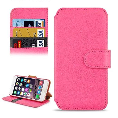 Phone case & Hülle Für iPhone 6 / 6S, Crazy Horse Texture Kontrast Farbe PU Nähte Leder Tasche mit Halter & Card Slots ( Color : Magenta ) Magenta