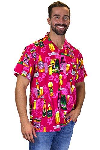 V.H.O. Funky Hawaiihemd | Herren | Kurzarm | Front-Tasche | Hawaii-Print | Bierflaschen Party Blumen Pink