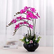 XPHOPOQ Fiori finti Orchid fiori artificiali soggiorno Decoration Wedding Giardino viola Nero Vaso in ceramica