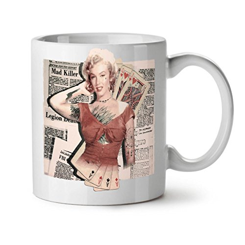 Monroe Deck (Wellcoda Monroe As Diva Berühmtheit Keramiktasse, Zocken - 11 oz Tasse - Großer, Easy-Grip-Griff, Zwei-seitiger Druck, Ideal für Kaffee- und Teetrinker)