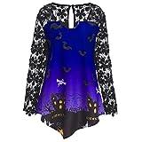 MEIbax Damenmode Halloween Spitze Patchwork Asymmetrische T-Shirt Tops Bluse Oberteile Langarmshirt Spitze Tunika