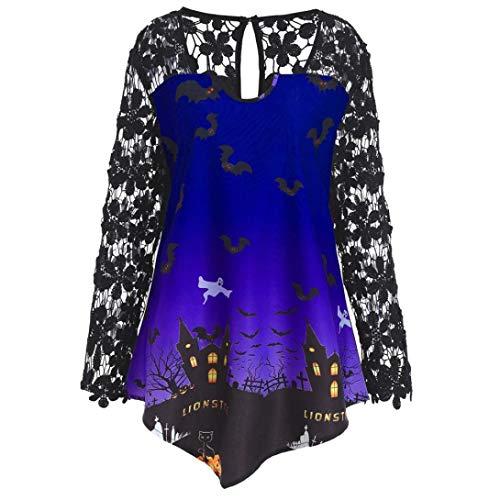 (MEIbax Damenmode Halloween Spitze Patchwork Asymmetrische T-Shirt Tops Bluse Oberteile Langarmshirt Spitze Tunika)