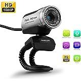 HD Webcam Cámara Web, AUSDOM Full HD 1080p/30fps AW615 USB interfaz con micrófono, Chat de vídeo, imagen de alta definición Teniendo, imagen transcribiendo y conversación de voz