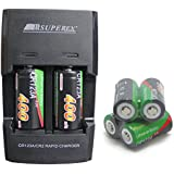 SUPEREX 6 PCS 3v 400 MAh CR123A 16340 Battery + Car Charger Dual Rapid Rechargeable Battery Charger For 3V CR123 Lithium Batteries