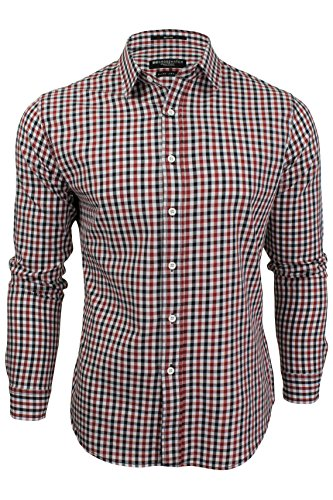Red Gingham Check Shirt (Crosshatch 'Larix' Herren Freizeithemd Kariertes (Red & Navy) L)