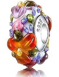 Genuino 925 ATHENAIE de cristal de Murano y plata de color hawaiana para todo tipo de pulseras del encanto del grano