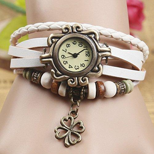 Demarkt Retro Vintage Klee Design Damen Armbanduhr Armreif Uhr Anhänger Spangenuhr Quarzuhren (Weiß) - 3