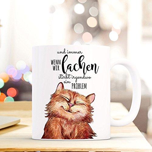ilka parey wandtattoo-welt Tasse Becher lustige Katze Kaffeebecher mit Spruch Immer wenn wir lachen. ts498