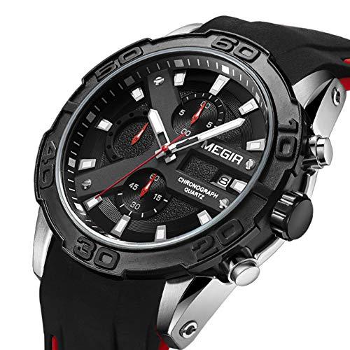 SBDONGJX Chronographe Montre De Sport Hommes Relogio Masculino Haut De Mode Silicone Armée De Quartz Militaire Montre-Bracelet Horloge Hommes 2055