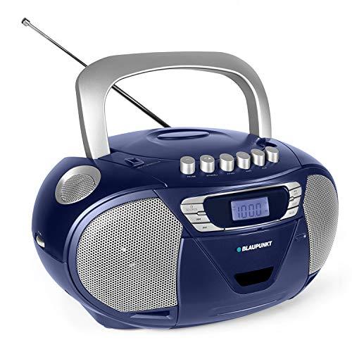 Blaupunkt B 110 BL, PLL, tragbarer Kinder CD Player, Hörbuch Funktion und USB mit Kassettenplayer, tragbares CD-Radio, Aux In, Kopfhöreranschluss, PLL UKW Tuner (Blau)