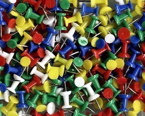 Assorted Coloured Push Pins Approx. 50pc Notice Cork Board Test