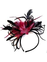 Negro y fucsia rosa pluma tocado para cabello diadema boda y Royal Ascot de carreras Mujer