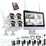 ANNKE Kit de Cámaras Seguridad WiFi Vigilancia Inalámbrica Sistema 1080P 4CH HD NVR con 12inch LCD Monitor Pantalla, (4) 2.0MP 1080P Cámara CCTV IP66 Interior y Exterior visión Nocturna