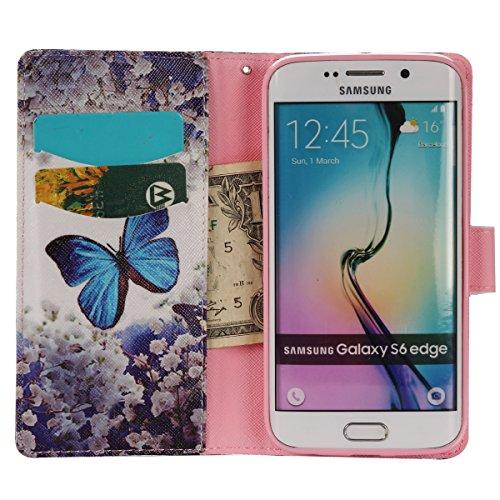 Aeeque iPhone 5/5S/5C/SE/6 plus/6S,, Samsung Galaxy S3/S4/S5/S6/S6/S6 Edge Edge J5/plus/nota 5/S7/S7/Edge G360/G530/i9060, Sony Xperia M4/Z5 mini/Z5, P8 Huawei Lite pittura, disegno elegante Custodia  Blue Butterfly Flower