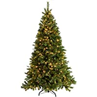 WeRChristmas Pre-Lit Victorian Pine Multi-Function Christmas Tree with 500 Warm White LED Lights, Green, 7 feet/2.1 m