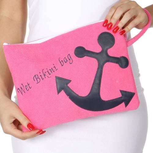 Stricken Factory Wasser Proof Baumwolle Handtuch Wet Bikini Bag Wal Auswahl, Anchor-Hot Pink Shoreline Fällen