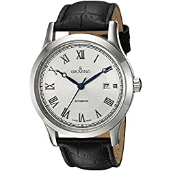 GROVANA 1218.2532 Men's Automatic Swiss Watch with White Dial Analogue Display and Black Leather Strap