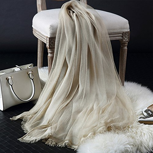 Foulard di seta foulard di seta autunno lungo multifunzionale sciarpa e una sezione sottile di cotone femmina in estate 190cm*65cm,beige (cotone doppia