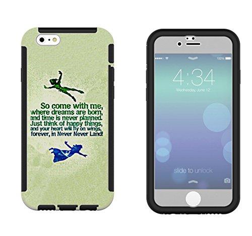 002 - Cool Cartoon never land Quote Come With Me Design iphone 4 4S Coque Fashion Trend Case Coque Protection Cover plastique et métal - Noir
