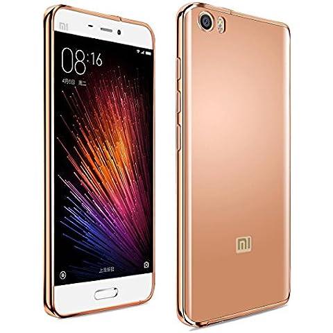 Xiaomi Mi5 M5 Funda,Grandcaser Lujo Ultrafino Metal Marco de Aluminio Espejo PC de Nuevo Caso Funda Carcasa para Xiaomi Mi5 M5 - Rose Oro
