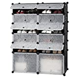 LANGRIA 12-Cube DIY Shoe Rack, Versatile Cube Storage Organiser Plastic Cupboard with Doors, 10 Cubbies and 2 Big Cubes, Black and White Curly Pattern