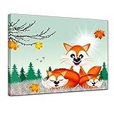 Kunstdruck - Kinderbild - Fuchsfamilie Cartoon - 80 x 60 cm - Bilder als Leinwanddruck - Wandbild von Bilderdepot24 - Kinder - Herbst - drei Füchse auf einer Wiese