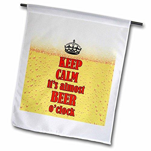 """3drose FL _ 215140_ 2,5cm Keep Calm Its Fast Bier Uhr. Sprichwort. Rot und Gelb """"Garten Flagge, 30,5x 45,7cm"""